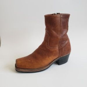 Frye Womens Honey- Brown Leather High Ankle Boots